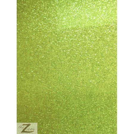 Vinyl Faux Fake Leather Sparkle Glitter Fabric / Lime / Sold By The Yard