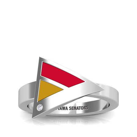 Ottawa Senators Ring - Ottawa Senators - Ottawa Senators Engraved Diamond Geometric Ring in Red and Gold