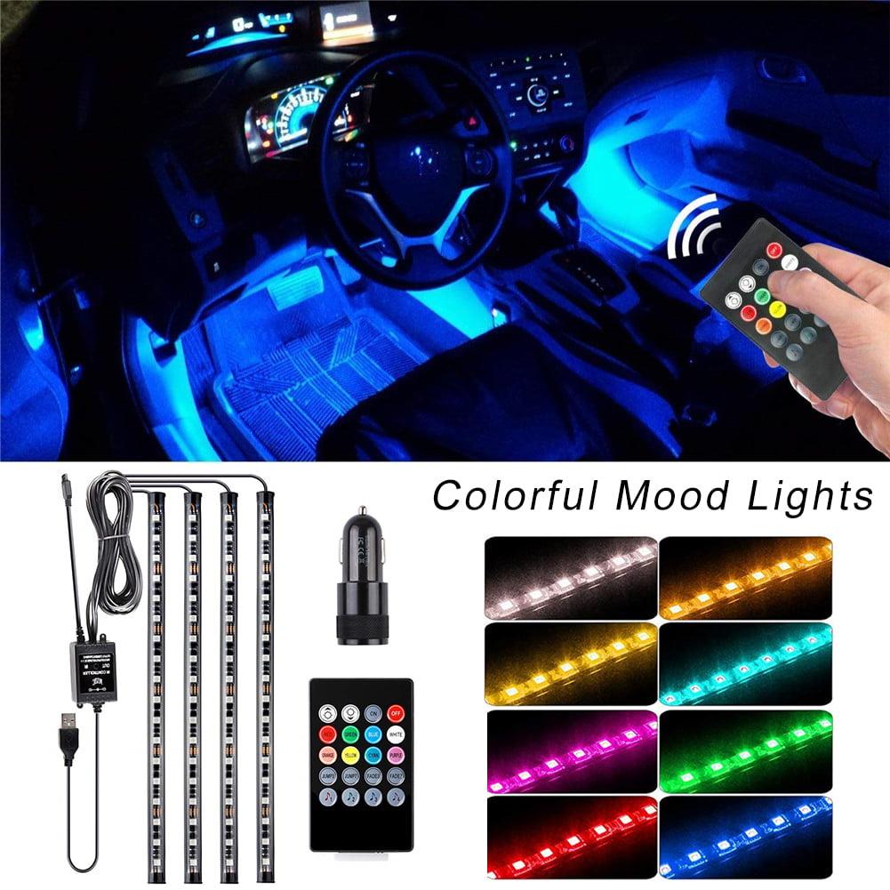 4pcs Remote 18 Led Universal Car//TV Strip Mood Lights Interior Footwell RGB New