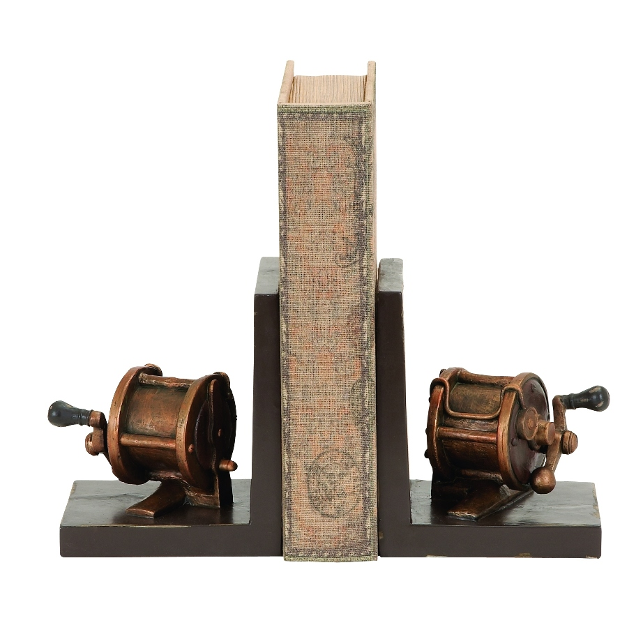 Attractive Bookends Fishing Reel Replicas Bronze Brown Polystone Decor 55632 by Woodland Imports