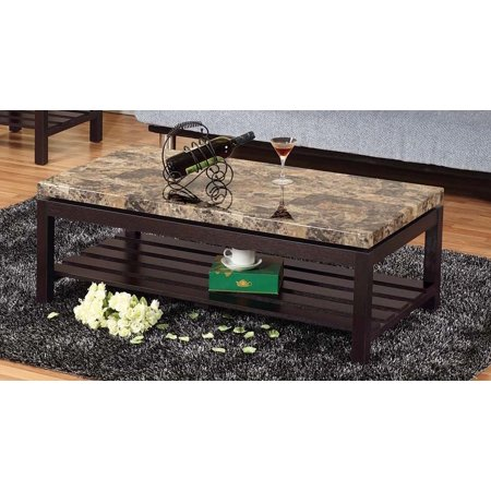 Wooden Coffee Table With Faux Marble Top, Red Cocoa