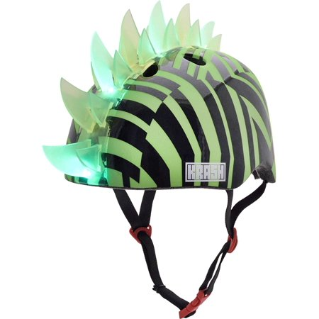 ! Dazzle Green LED Youth Mohawk Helmet, Mohawk lights up with LED lights in 2 different modes; steady glow and flash! By Krash](Novelty Helmet)
