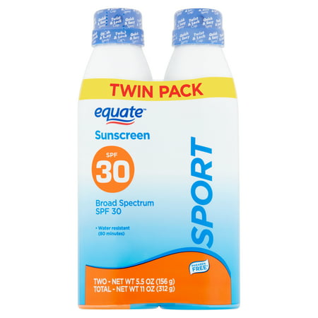 Equate Sport Broad Spectrum Sunscreen Spray Twin Pack, SPF 30, 5.5 oz, 2