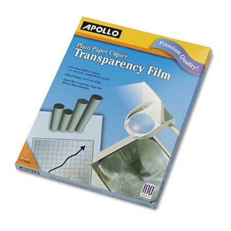 Apollo Plain Paper B/W Transparency Film, Letter, Clear, 100/Box -APOPP100C