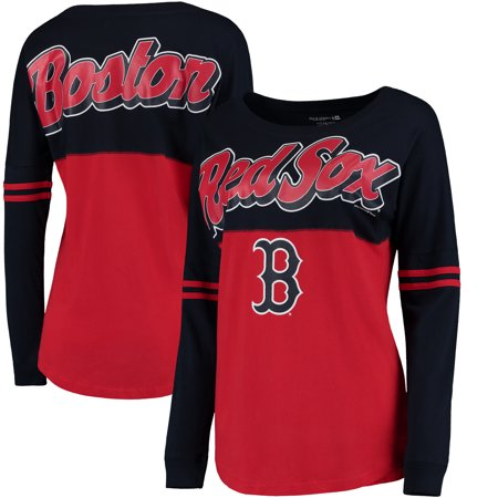 Boston Red Sox 5th & Ocean by New Era Women's MLB Baby Jersey Varsity Crew Boyfriend Long Sleeve T-Shirt - Red
