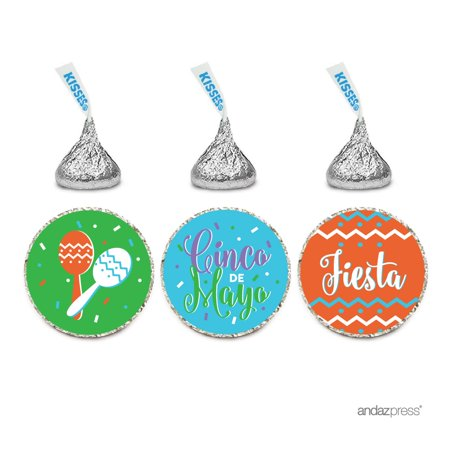 Cinco De Mayo Party Favors (Chocolate Drop Labels Trio, Hershey's Kisses Party Favors, Happy Cinco De Mayo! Mexican Fiesta Party,)