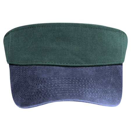 OTTO Garment Washed Pigment Dyed Cotton Twill Sun Visor - Nvy/Dk.Grn