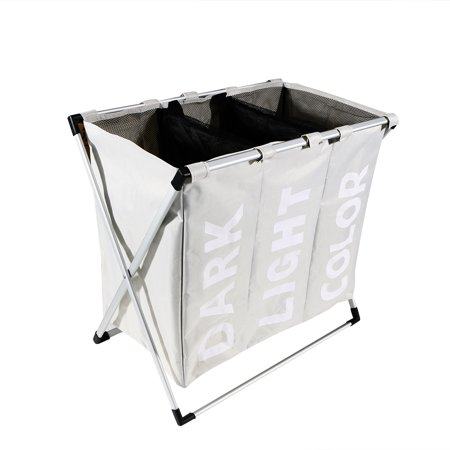 Triple Compartment Laundry Hamper Foldable Laundry Basket Storage Bag (Threshold 3 Compartment Laundry Station Assembly Instructions)