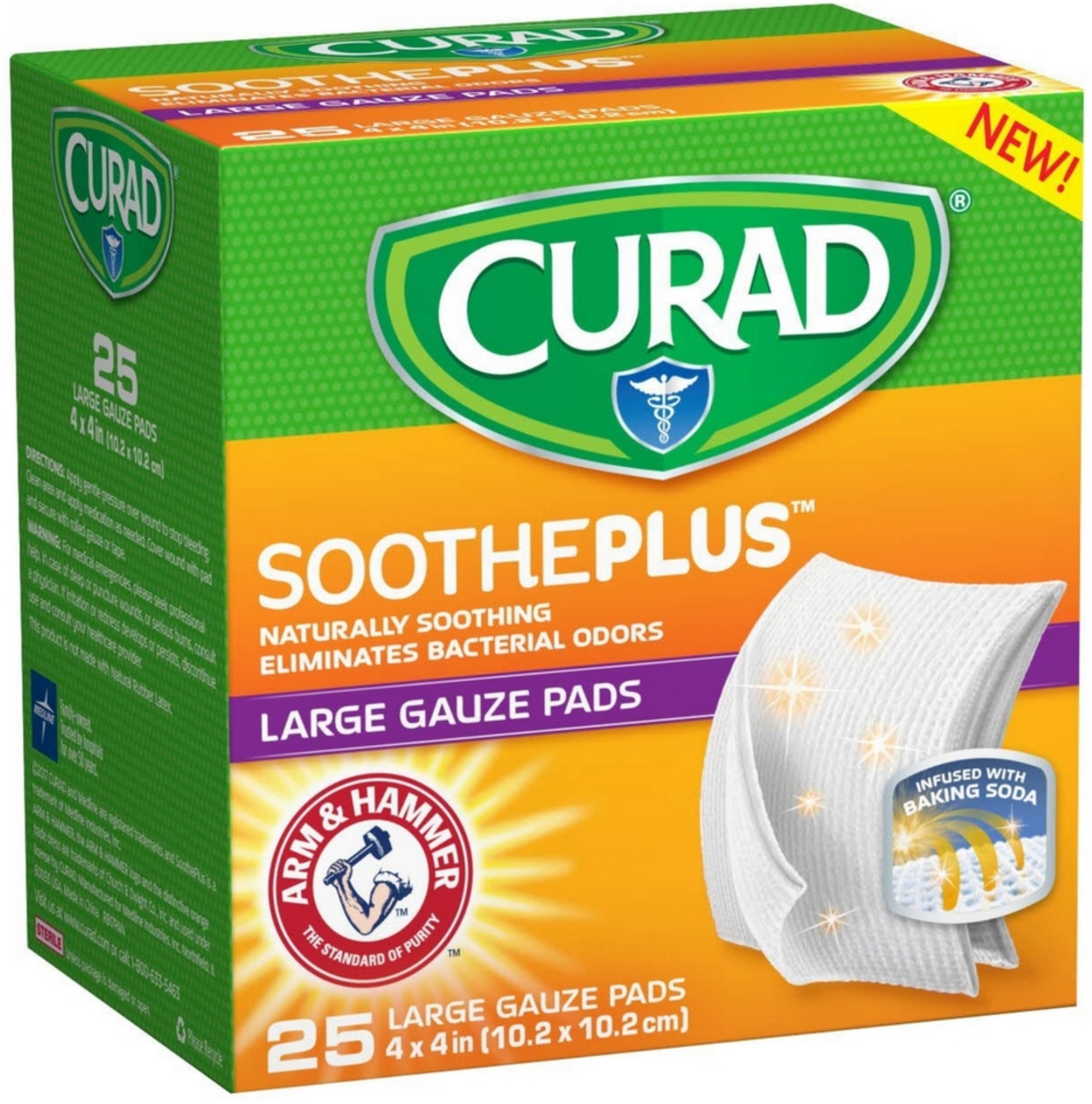 Curad Soothe Plus Large Gauze Pads with Arm and Hammer 25 ea