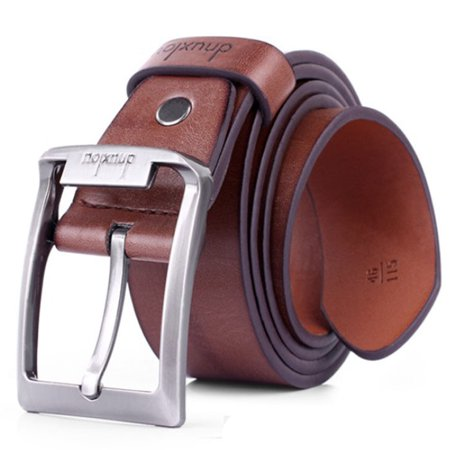 New Mens Leather Single Prong Belt Business Casual Dress Metal Buckle (New Mens Leather Buckle Dress)