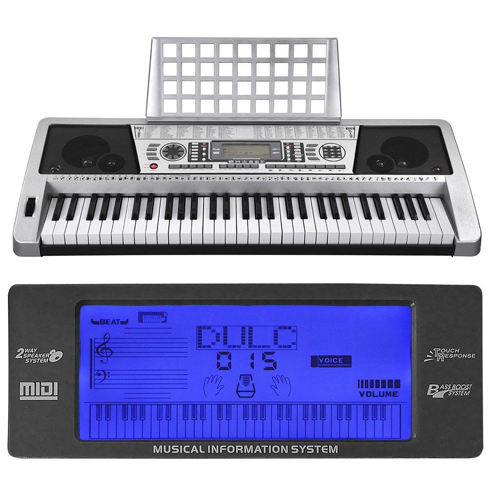 61 Key LCD MIDI Silver Electric Keyboard Music Digital 37x14x5