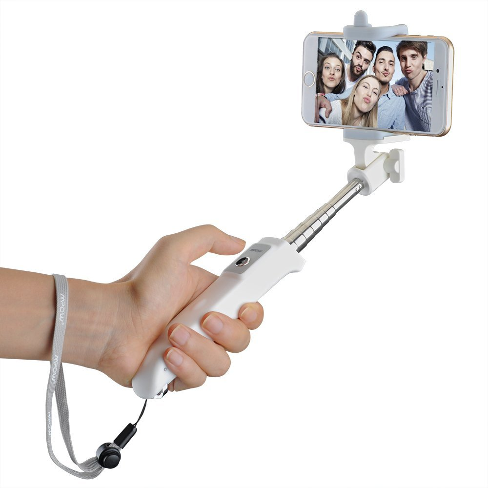 Mpow iSnap Y One-piece Portable Self-portrait Monopod Extendable Selfie Stick with built-in Bluetooth Remote Shutter for iPhone 6 and more-White