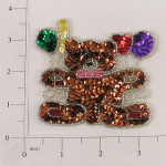"""Expo Int'l 3 1/4"""" x 3 1/4"""" Teddy Bear with Balloons Sequin Applique"""