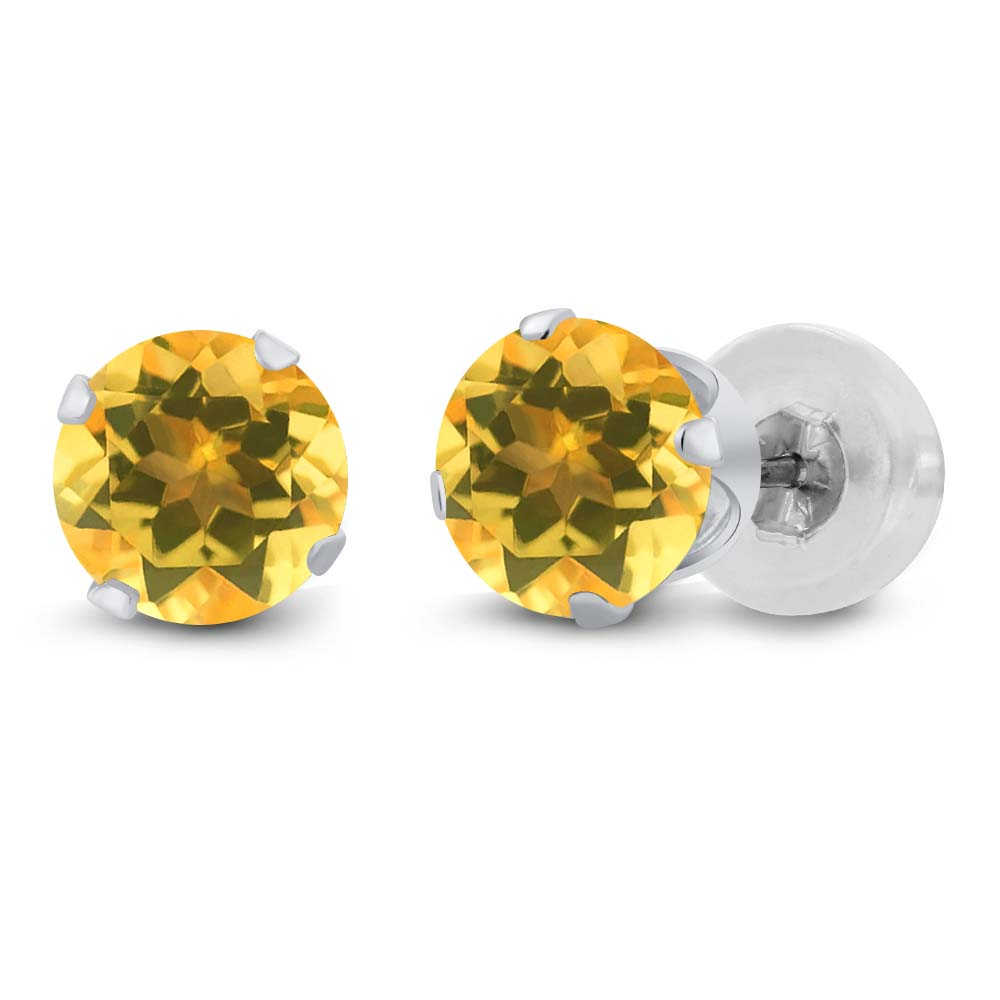 0.52 Ct Round 4mm Yellow Citrine 14K White Gold Stud Earrings