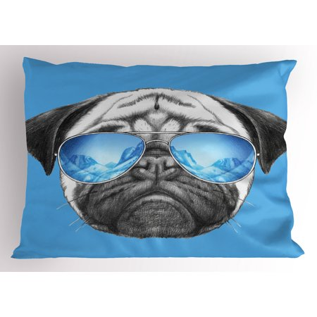 Pug Pillow Sham Pug Portrait with Mirror Sunglasses Hand Drawn Illustration of Pet Animal Funny, Decorative Standard Size Printed Pillowcase, 26 X 20 Inches, Pearl Blue Black, by - Cheap Funky Sunglasses