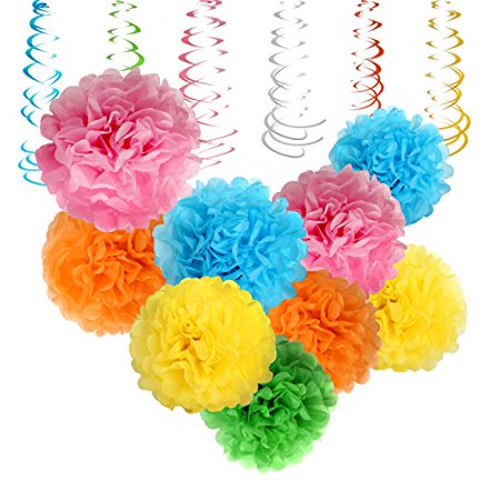 Colorful Tissue Paper Pom Poms By Treasures Gifted   15 Pcs  Assorted Sizes   Rainbow Colors For The Ultimate Party  Wedding Or Birthday Decorations  Rainbow