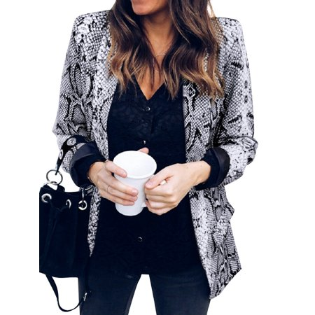 Women Snake Print Lapel Collar Long Sleeve Coat Snake Print Suede Jacket