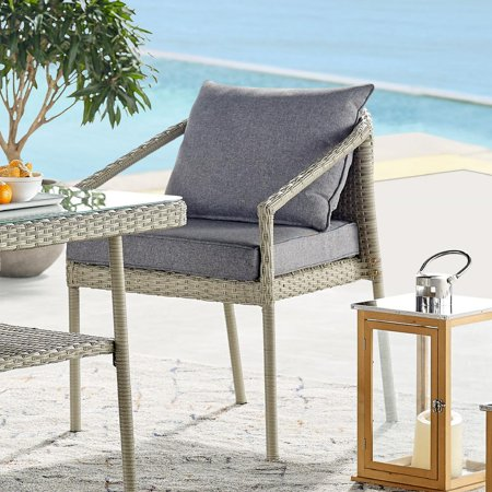 Bolton Furniture Windham All-Weather Wicker Outdoor Conversation Set with 42-inch L Coffee Table, Set of Two Chairs and Two-Seat Bench