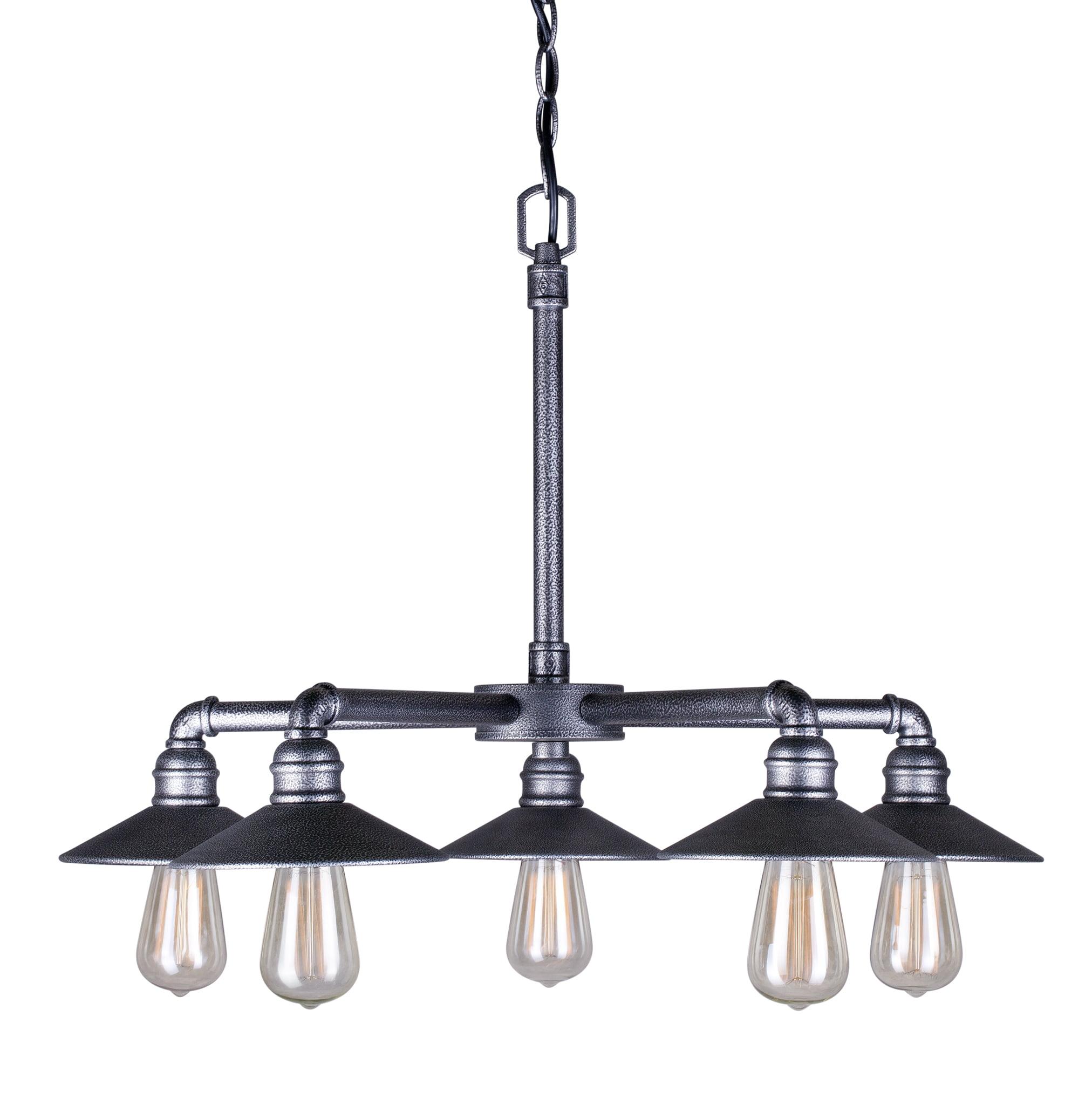 5-Light Industrial Gray Chandelier