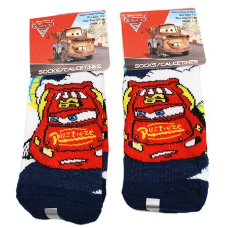 Disney 's Cars Sheriff White/Black Kids Sock Set (Size 4-6, 2 Pairs)