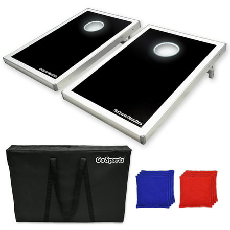 GoSports Foldable LED Light Up Cornhole Boards Set, 3'x2' Tailgate Size w/ 6 Bean Bags and Portable Carry Case ()