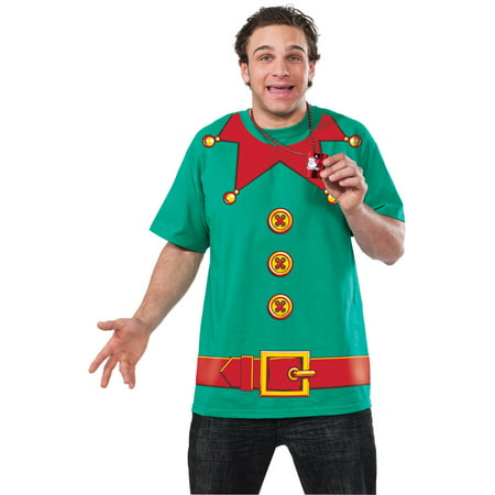 Adult Mens Christmas Holiday Elf Printed T-shirt Suit Shirt - Adult Holidays For Men