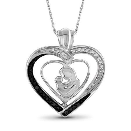 Black and White Diamond Accent Sterling Silver Mother and Child Heart Pendant