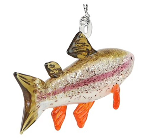 Dynasty Gallery Hand Crafted Glass Christmas Tree Ornament or Figurine Fish Rainbow Trout