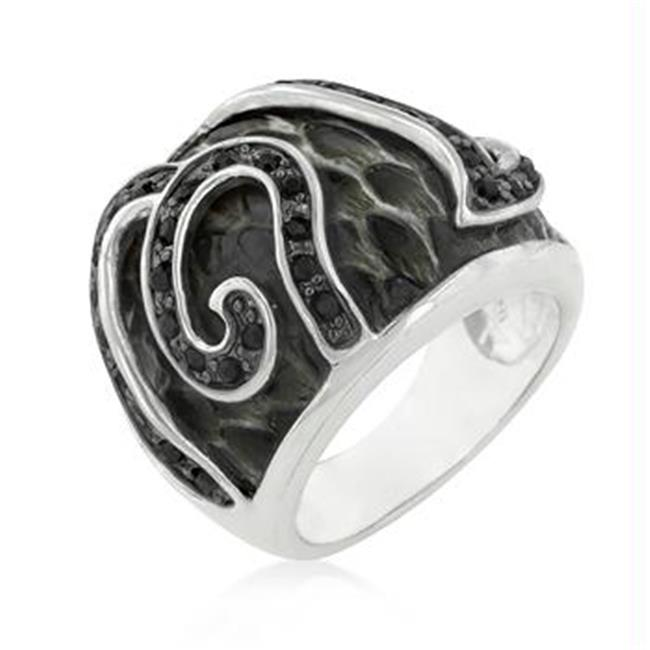 Black Cubic Zirconia Snake Inspired Cocktail Ring, <b>Size :</b> 10