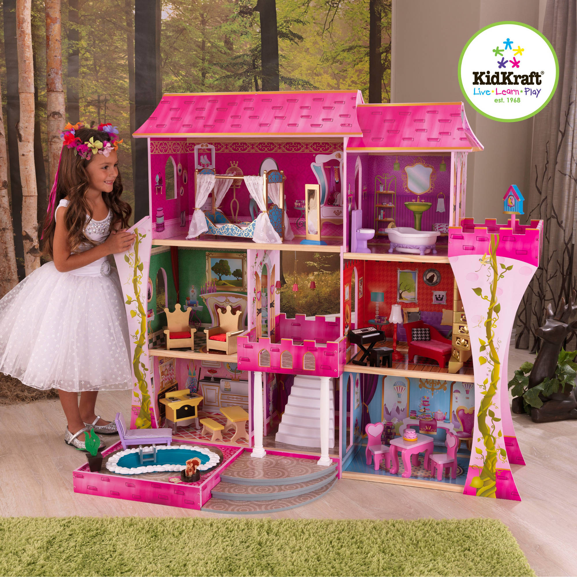 Kids craft doll house - Kidkraft Penelope Soft Pastel Wooden Play Dollhouse With Furniture Doll Family Walmart Com