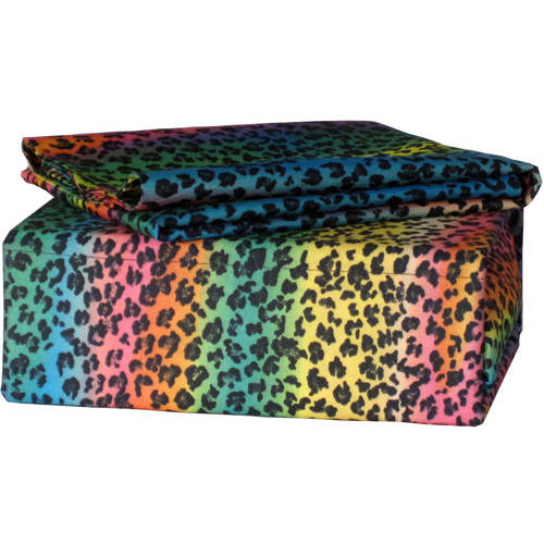Rainbow Leopard Polyester Sheet Set