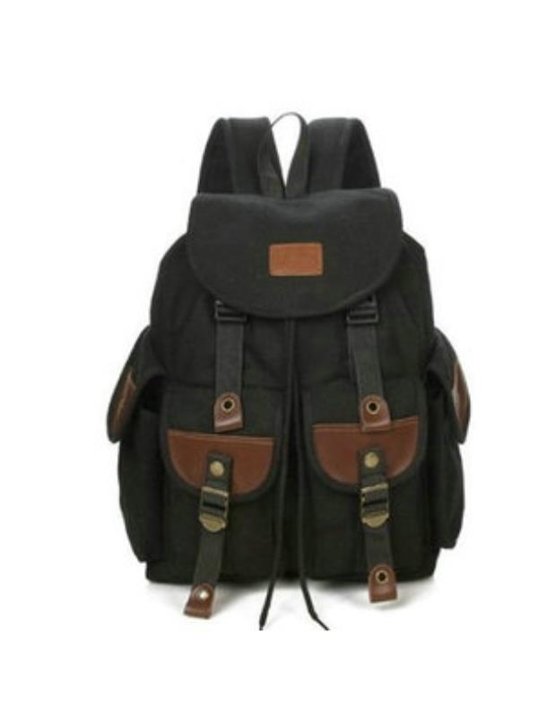Unisex Canvas Leather Travel Outdoor Backpacks for Adults School bag Military Hiking Rucksack by