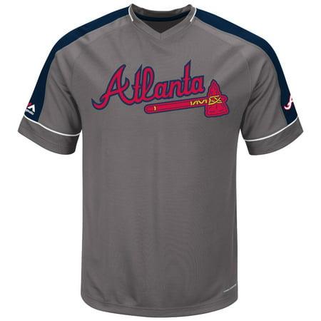 """Atlanta Braves Majestic MLB """"Dominant"""" V-Neck Mens Gray Fashion Jersey by"""