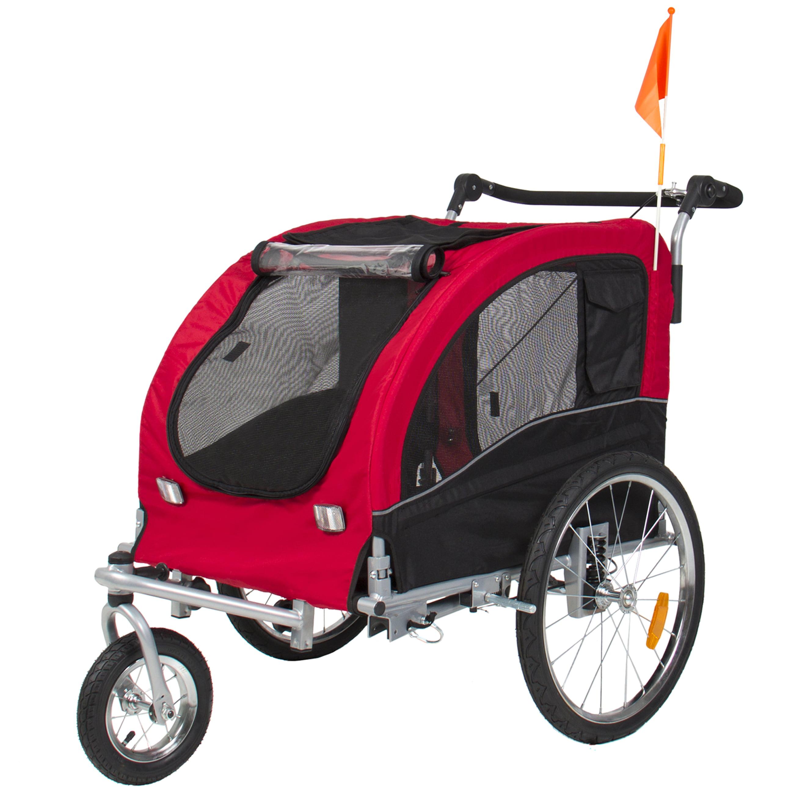 2 IN 1 Pet Dog Bike Trailer Bicycle Trailer Stroller Jogging w/ Suspension Red