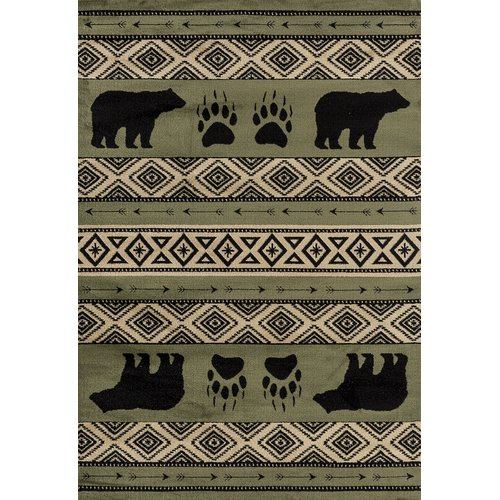 Loon Peak Pippen Bear Imprint Green Beige Black Area Rug Walmart Com