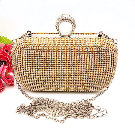 e1fc901f5084 Dosmart - Women Glitter Shimmer Evening Bag with Knuckle Ring Clutch Purse  Party Rhinestones Handbags Coin Card Holder Bag - Walmart.com
