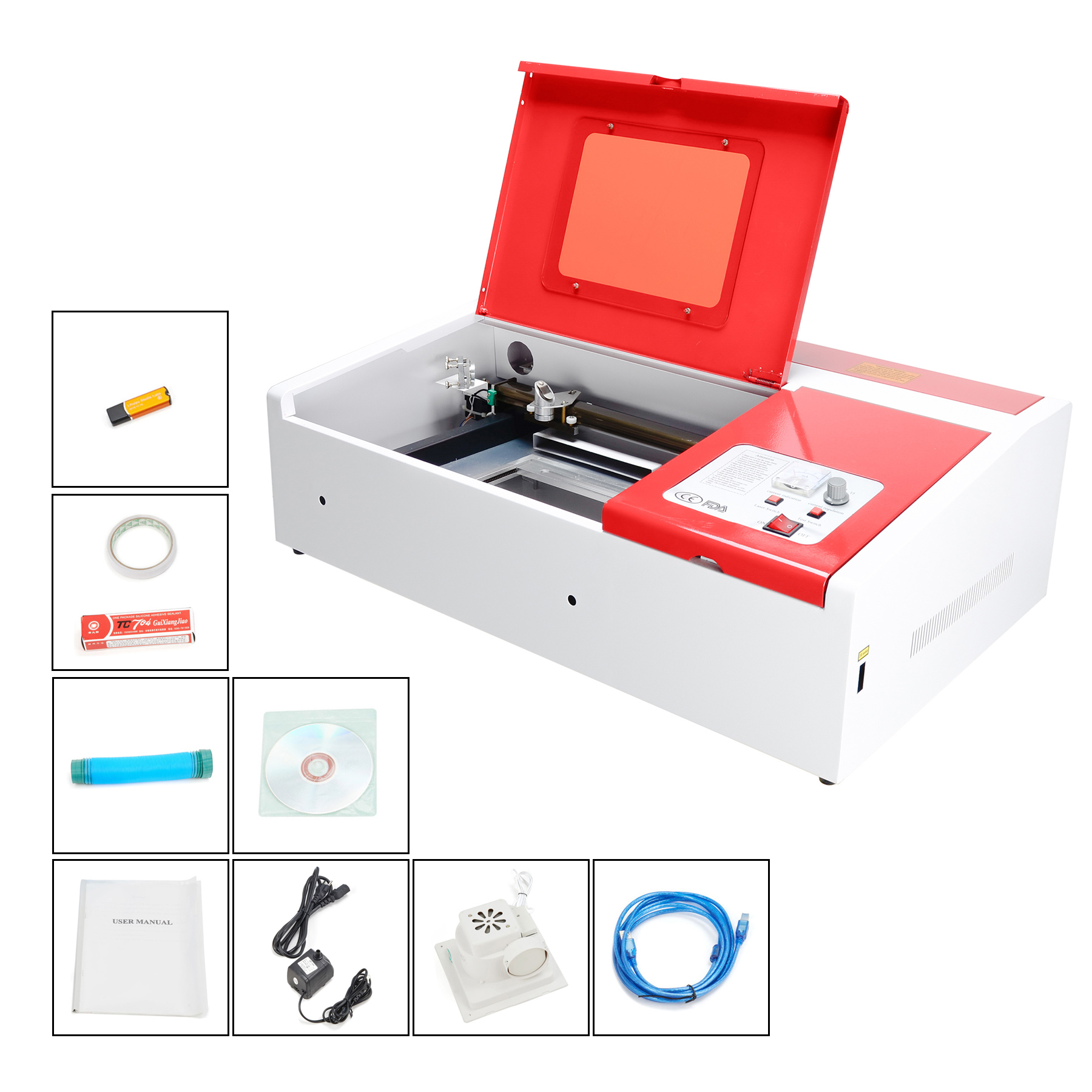 Pro-Tech 40W CO2 Laser Engraving Cutting Machine Engraver Cutter