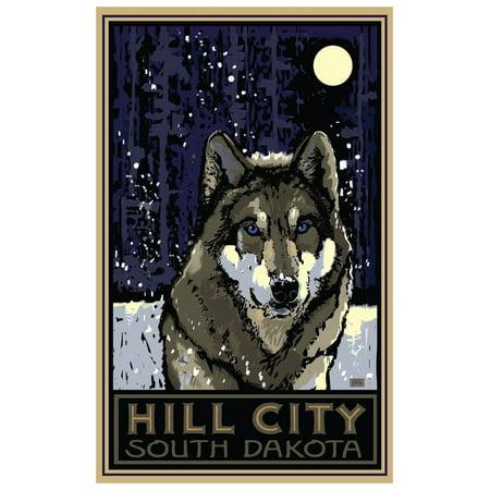 Party City South Hill (Hill City South Dakota Timberwolf Travel Art Print Poster by Joanne Kollman (12