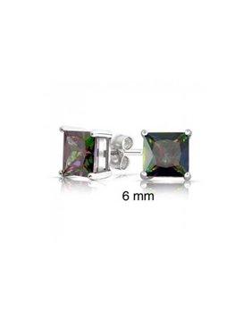 Square Black Mystic Rainbow Princess Cut Cubic Zirconia CZ Stud Earrings For Women Men 925 Sterling Silver
