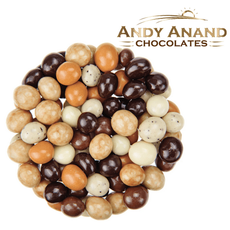 Andy Anand Belgian Chocolate coated Espresso Coffee Bridge of 5 Flavors, Delicious, Gift Boxed & Greeting Card Birthday Christmas Holiday Food Mothers Fathers day (1lbs) ()