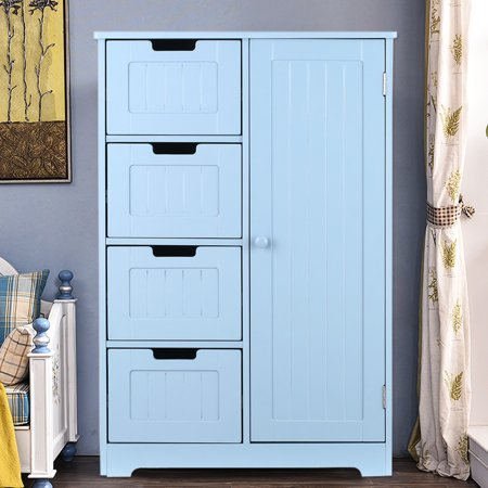 iKayaa Modern Floor Cabinet with Door & Drawers Bedroom Storage Organizer  Furniture,White/Blue