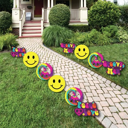 60's Hippie - Peace Sign & Smiley Face Lawn Decorations - Outdoor 1960s Groovy Party Yard Decorations - 10 Piece (60s Decorations)