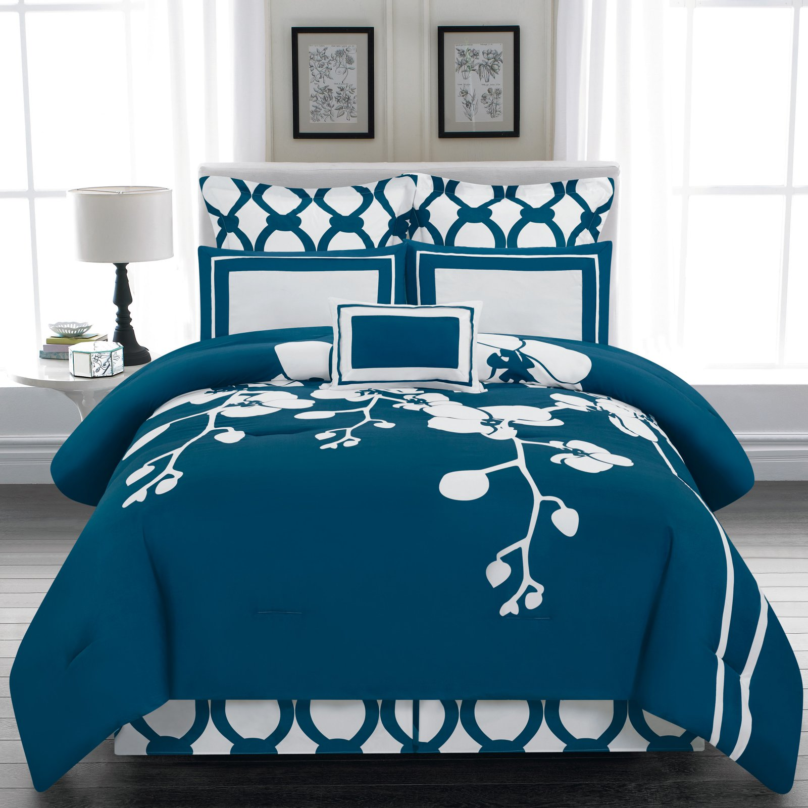 April Orchidea Flower 6 Piece Reversible Oversize/Overfilled Comforter Set by Duck River Textiles