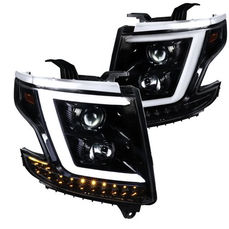 Spec-D Tuning For 2015-2018 Chevy Tahoe GMC Suburban Shiny Black LED DRL Projector Headlights Lamps+LED Signal 2015 2016 2017 2018 (Left+Right) Gmc Suburban Ipcw Led