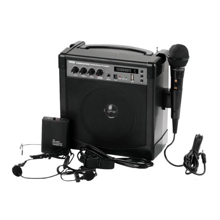 - Portable Karaoke PA Speaker Amplifier & Microphone System, BT Streaming, Built-in Battery (Includes Belt Pack Transmitter, Headset, Lavalier & Wired Handheld Microphone)