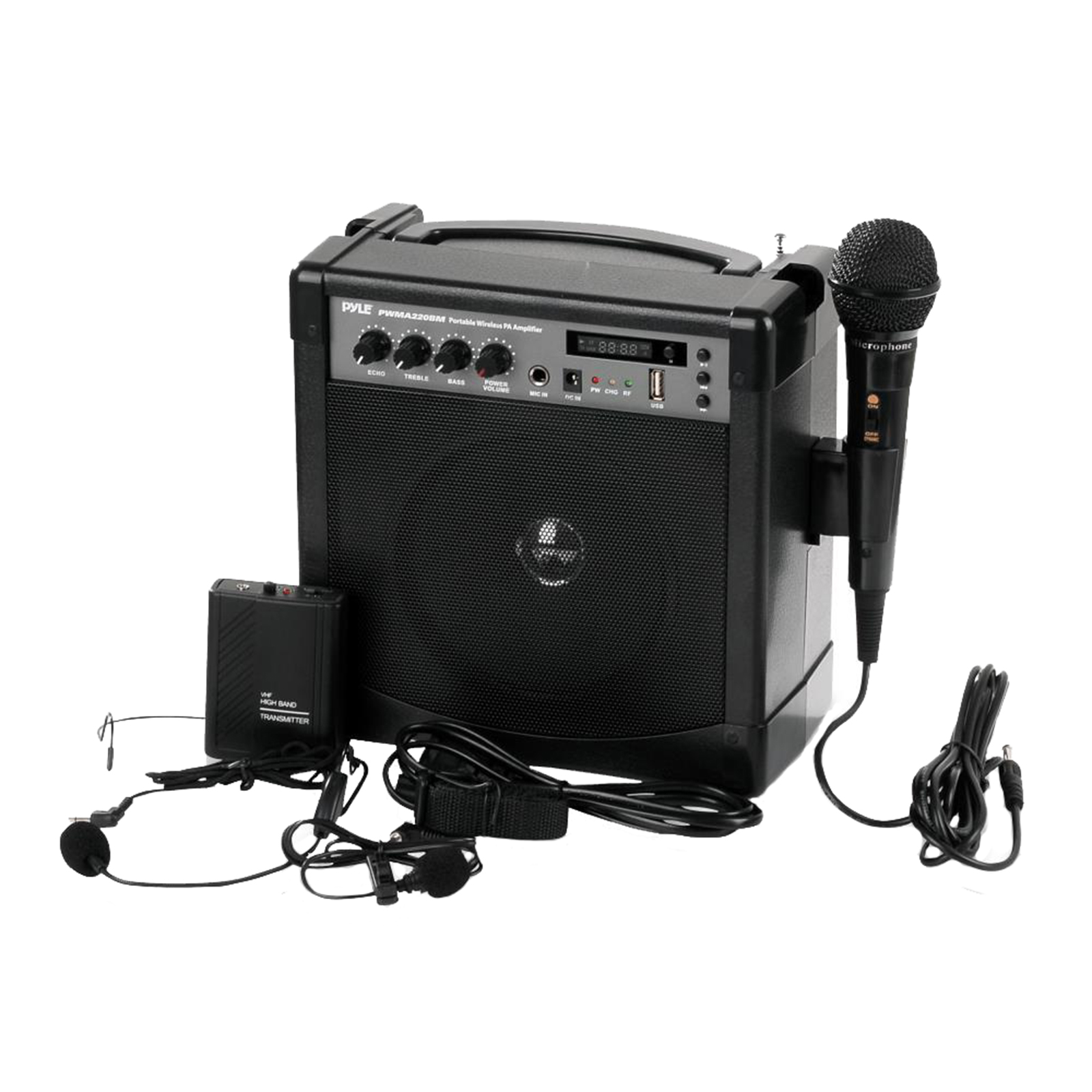 Portable Karaoke PA Speaker Amplifier & Microphone System, BT Streaming, Built-in Battery (Includes Belt Pack Transmitter, Headset, Lavalier & Wired Handheld Microphone)
