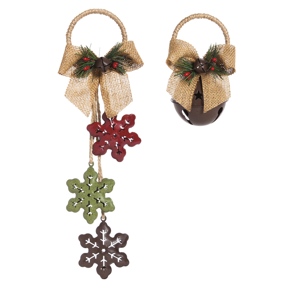 Cypress Home Rustic Burlap Bell Ornaments, Set of 2