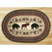 Bear And Moose Oval Patch Rug
