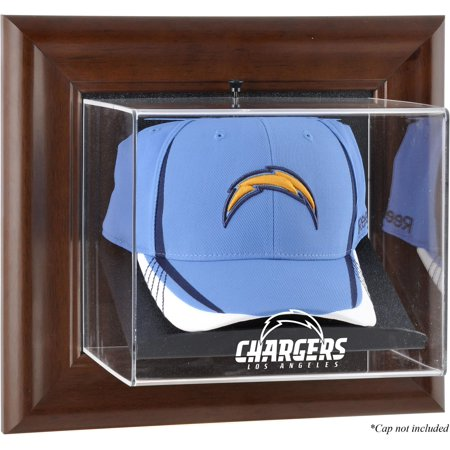 Los Angeles Chargers Brown Framed Wall-Mountable Cap Logo Display Case