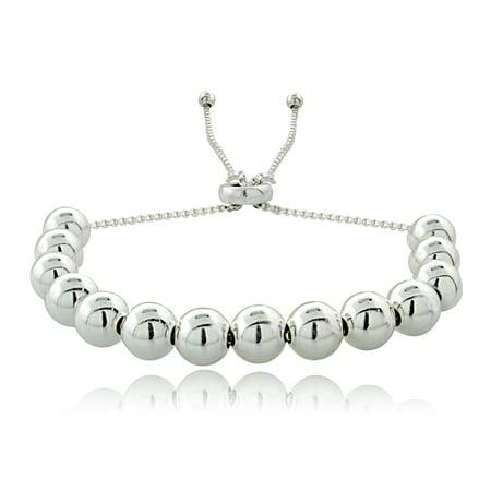 925 Sterling Silver 6mm Polished Ball Beads Adjustable Bolo Bracelet ()